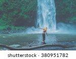 beautiful girl in the rain .... | Shutterstock . vector #380951782