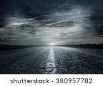 asphalt road between fields ... | Shutterstock . vector #380957782