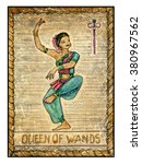 Queen Of Wands.  Full Colorful...