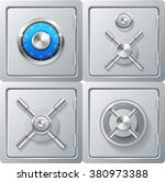 realistic metal safe set.... | Shutterstock .eps vector #380973388