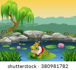 cute king frog sitting on the... | Shutterstock . vector #380981782