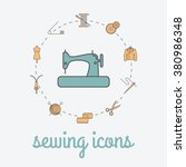 sewing and needlework icons.... | Shutterstock .eps vector #380986348