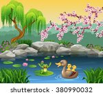 cartoon funny mother duck with... | Shutterstock .eps vector #380990032