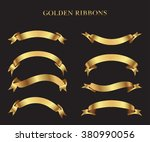 ribbon banner set.golden... | Shutterstock .eps vector #380990056