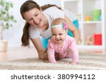Funny Crawling Baby Girl With...