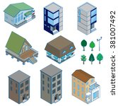 various building   solid figure | Shutterstock .eps vector #381007492
