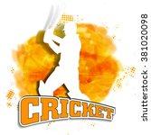 white illustration of a batsman ...   Shutterstock .eps vector #381020098