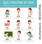 daily routine  daily routine of ... | Shutterstock .eps vector #381031906