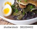 black noodles with acorn squash ...