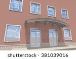 porch building entrance render...   Shutterstock . vector #381039016