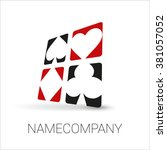 playing card suit logo. vector... | Shutterstock .eps vector #381057052