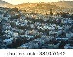 dense hillside housing in urban ... | Shutterstock . vector #381059542