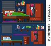 girl sleep in the bed woman...   Shutterstock .eps vector #381063712
