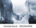 double exposure of businessman... | Shutterstock . vector #381064306