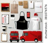 vector food truck corporate... | Shutterstock .eps vector #381076576