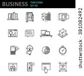thin line icons set. business...   Shutterstock .eps vector #381082492