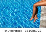 woman relaxing at the pool | Shutterstock . vector #381086722