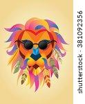 hipster lion | Shutterstock .eps vector #381092356