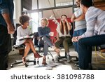 shot of a group of young... | Shutterstock . vector #381098788