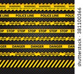 vector set of seamless caution... | Shutterstock .eps vector #381100366