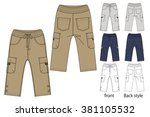 cargo pants vector template | Shutterstock .eps vector #381105532