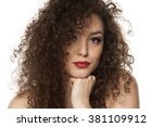 beautiful girl with long curly... | Shutterstock . vector #381109912