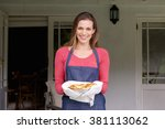 portrait of a smiling woman... | Shutterstock . vector #381113062