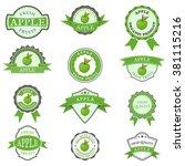 set of apple labels  | Shutterstock .eps vector #381115216
