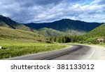 the road goes into the mountains | Shutterstock . vector #381133012
