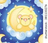 bear on the moon pattern | Shutterstock .eps vector #381133276