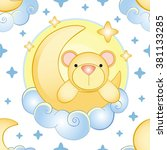 bear on the moon pattern | Shutterstock .eps vector #381133285