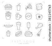 set of line fast food icons.... | Shutterstock .eps vector #381145765
