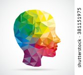 Colored Low Poly Human Head On...