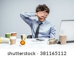 upset businessman with eyes... | Shutterstock . vector #381165112