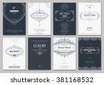 monogram creative cards...   Shutterstock .eps vector #381168532