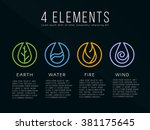 nature 4 elements logo sign.... | Shutterstock .eps vector #381175645