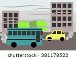 polluted city  with polluting... | Shutterstock .eps vector #381178522