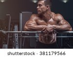 attractive muscular bodybuilder ... | Shutterstock . vector #381179566