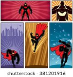 superhero banners 5  set of 5... | Shutterstock .eps vector #381201916