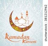 golden moon.ramadan kareem | Shutterstock .eps vector #381212962
