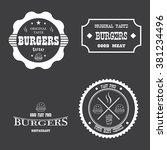 fast food badges and icons | Shutterstock .eps vector #381234496