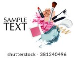 brush and cosmetic with space... | Shutterstock . vector #381240496