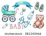 baby shower isolated design... | Shutterstock . vector #381243466