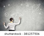 rear view of businesswoman... | Shutterstock . vector #381257506