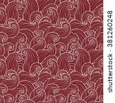 hand drawn seamless wave red... | Shutterstock . vector #381260248