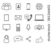 communication icons. media and... | Shutterstock .eps vector #381266602