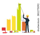 business man painting bar graph ... | Shutterstock .eps vector #381275092