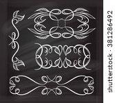 set of elegant white flourishes ... | Shutterstock .eps vector #381286492