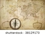 vintage map made in 1676 | Shutterstock . vector #38129173