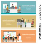 business people working banner... | Shutterstock .eps vector #381296272